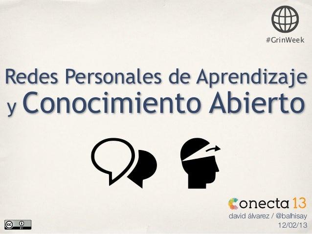 #GrinWeekRedes Personales de Aprendizajey   Conocimiento Abierto                      david álvarez / @balhisay           ...