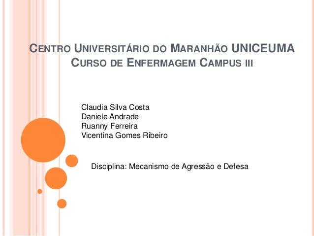 CENTRO UNIVERSITÁRIO DO MARANHÃO UNICEUMA CURSO DE ENFERMAGEM CAMPUS III  Claudia Silva Costa Daniele Andrade Ruanny Ferre...