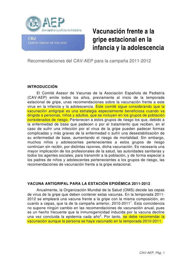 Vacunación frente a la                                      gripe estacional en la                                      in...