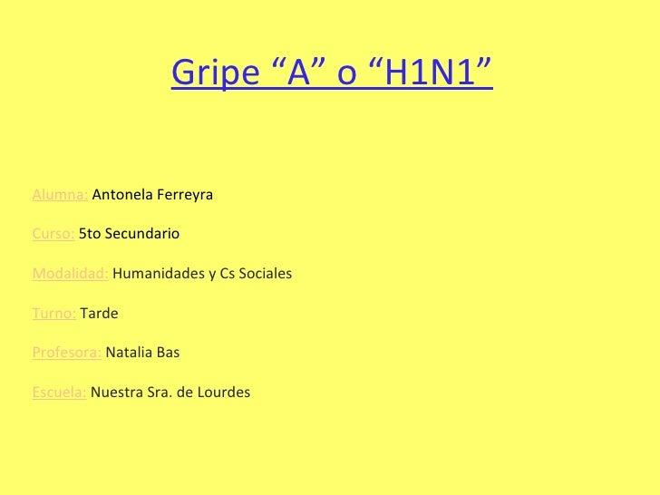 """Gripe """"A"""" o """"H1N1"""" Alumna:  Antonela Ferreyra Curso:  5to Secundario Modalidad:  Humanidades y Cs Sociales Turno:  Tarde P..."""