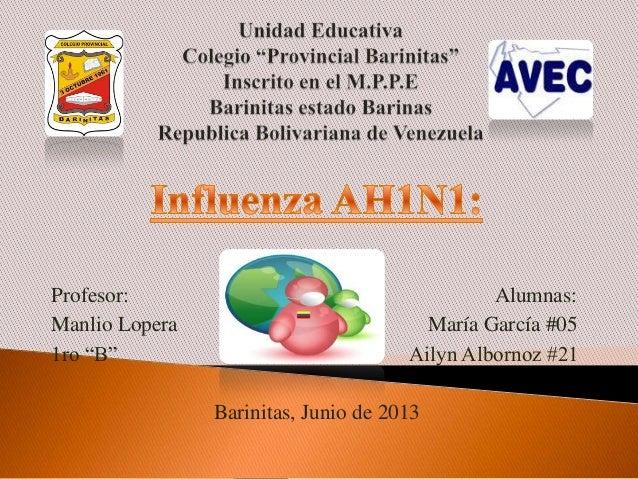 """Profesor: Alumnas:Manlio Lopera María García #051ro """"B"""" Ailyn Albornoz #21Barinitas, Junio de 2013"""