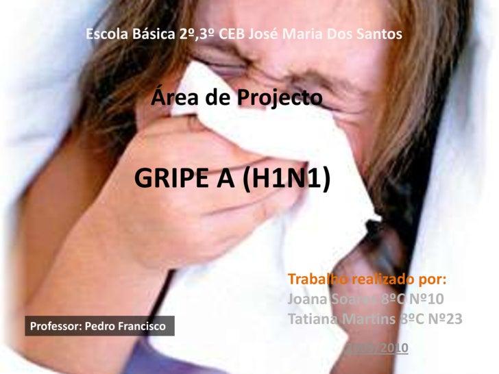 Escola Básica 2º,3º CEB José Maria Dos Santos<br />   GRIPE A (H1N1)  <br />   Área de Projecto<br />Trabalho realizado po...