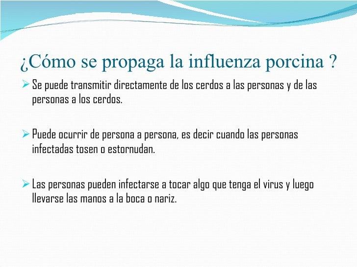 ¿Cómo se propaga la influenza porcina ? <ul><li>Se puede transmitir directamente de los cerdos a las personas y de las per...