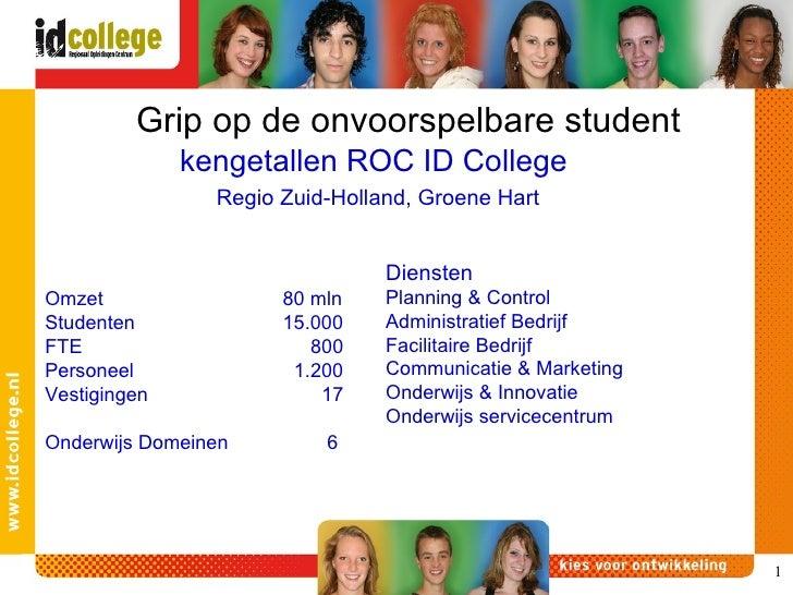 kengetallen ROC ID College  Grip op de onvoorspelbare student Omzet 80 mln Studenten 15.000 FTE   800 Personeel    1.200 V...