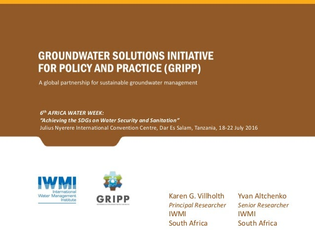 "6th AFRICA WATER WEEK: ""Achieving the SDGs on Water Security and Sanitation"" Julius Nyerere International Convention Centr..."