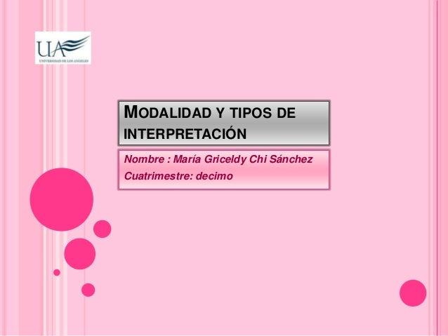 MODALIDAD Y TIPOS DE  INTERPRETACIÓN  Nombre : María Griceldy Chi Sánchez  Cuatrimestre: decimo
