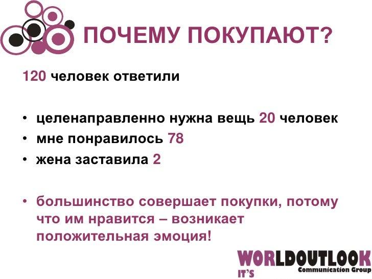 ПОЧЕМУ ПОКУПАЮТ?120 человек ответили• целенаправленно нужна вещь 20 человек• мне понравилось 78• жена заставила 2• большин...