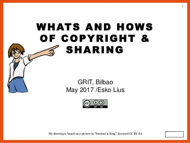 """1 WHATS AND HOWS OF COPYRIGHT & SHARING GRIT, Bilbao May 2017 /Esko Lius My drawing is based on a picture in """"Student is K..."""