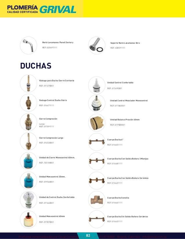 Grival 2012 catalogo plomeria 1 for Manija para ducha
