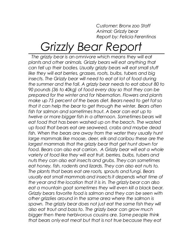 Customer: Bronx zoo StaffAnimal: Grizzly bearReport by: Felicia FerentinosGrizzly Bear ReportThe grizzly bear is an omnivo...