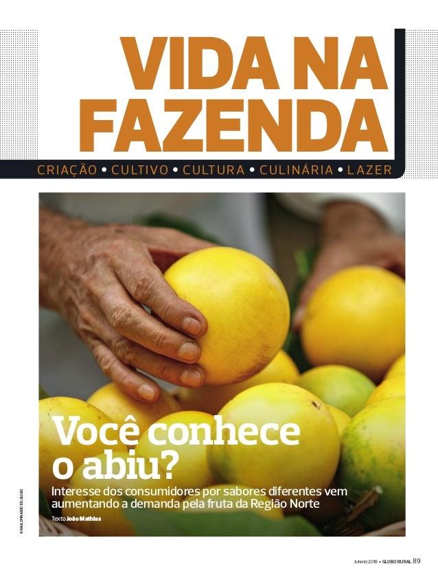  2018 GLOBO RURAL 89 VIDANA FAZENDACRIAÇÃO CULTIVO CULTURA CULINÁRIA LAZER ©RAULSPINASSÉ/ED.GLOBO Interesse dos consu...