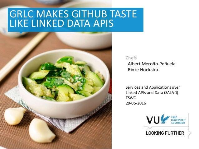 ‹#› Het begint met een idee GRLC MAKES GITHUB TASTE LIKE LINKED DATA APIS Chefs Albert Meroño-Peñuela Rinke Hoekstra Servi...