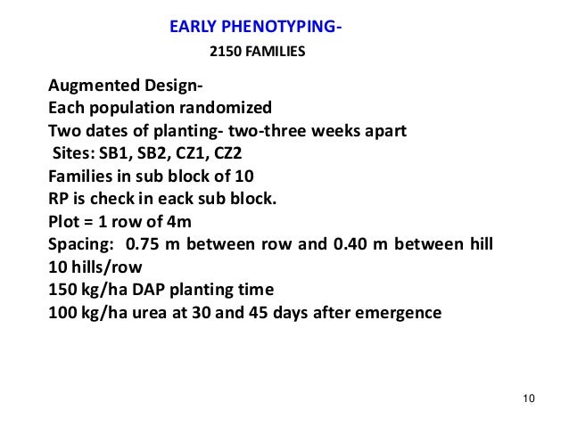 EARLY PHENOTYPING- Augmented Design- Each population randomized Two dates of planting- two-three weeks apart Sites: SB1, S...