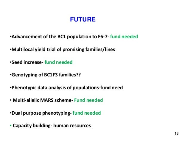 FUTURE •Advancement of the BC1 population to F6-7- fund needed •Multilocal yield trial of promising families/lines •Seed i...