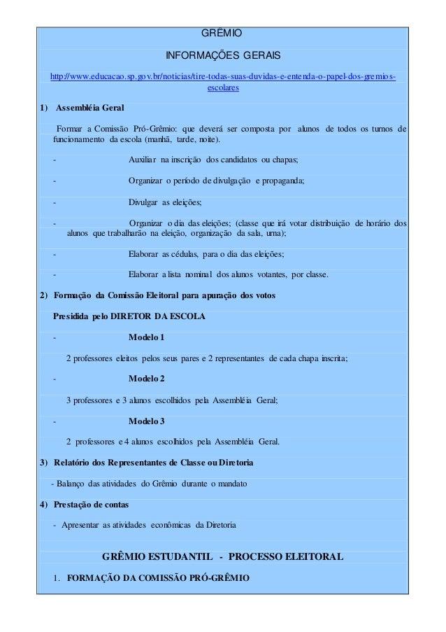GRÊMIO INFORMAÇÕES GERAIS http://www.educacao.sp.gov.br/noticias/tire-todas-suas-duvidas-e-entenda-o-papel-dos-gremios- es...