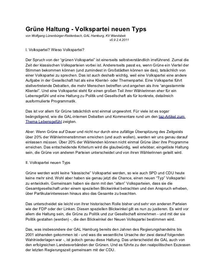 Grüne Haltung - Volkspartei neuen Typsvon Wolfgang Lünenbürger-Reidenbach, GAL Hamburg, KV Wandsbek                       ...