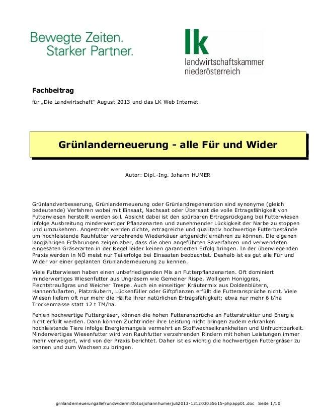 """Fachbeitrag für """"Die Landwirtschaft"""" August 2013 und das LK Web Internet  Grünlanderneuerung - alle Für und Wider Autor: D..."""