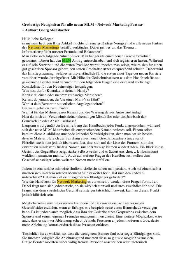 Großartige Neuigkeiten für alle neuen MLM – Network Marketing Partner- Author: Georg MollstaetterHallo liebe Kollegen,in m...