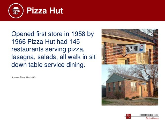 Pizza Hut Opened first store in 1958 by 1966 Pizza Hut had 145 restaurants serving pizza, lasagna, salads, all walk in sit...
