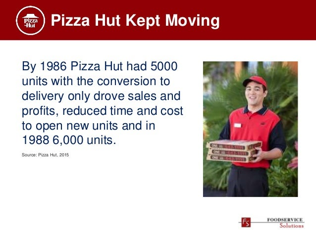 Pizza Hut Kept Moving By 1986 Pizza Hut had 5000 units with the conversion to delivery only drove sales and profits, reduc...