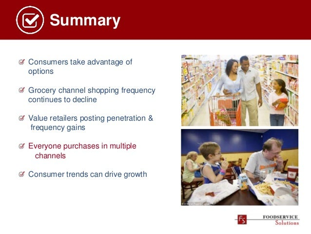 Summary Consumers take advantage of options Grocery channel shopping frequency continues to decline Value retailers postin...