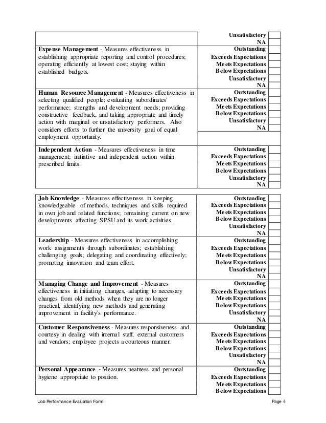 Job Evaluation Form. Sample Employee Performance Evaluation Form ...
