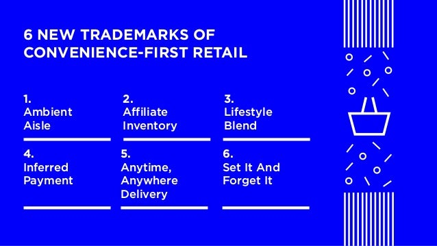LABS @PSFK #GroceryDebrief 6 NEW TRADEMARKS OF CONVENIENCE-FIRST RETAIL 1. Ambient Aisle 2. Affiliate Inventory 3. Lifesty...