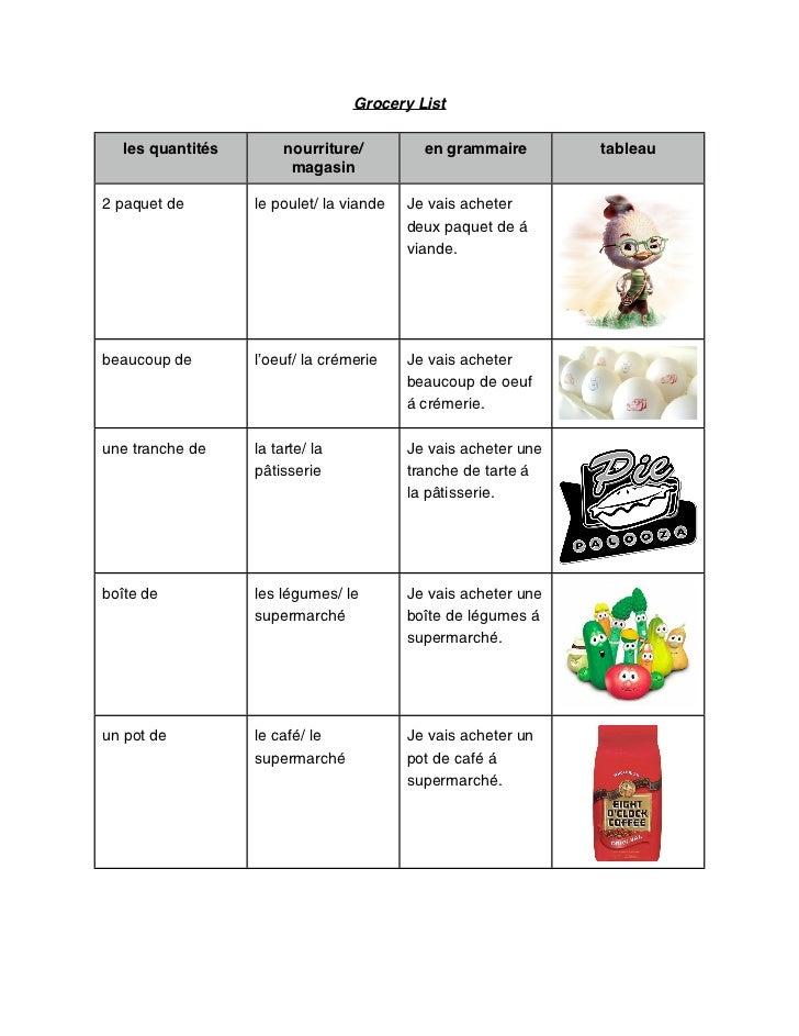 Grocery List  les quantités        nourriture/         en grammaire        tableau                        magasin2 paquet ...