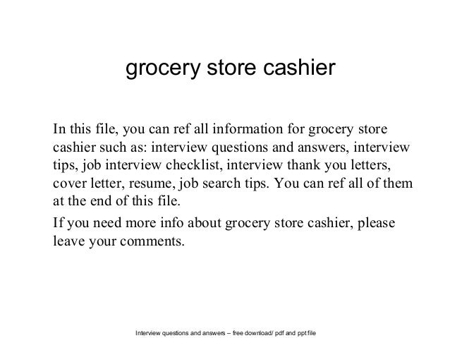 Grocery Store Cashier Job Description
