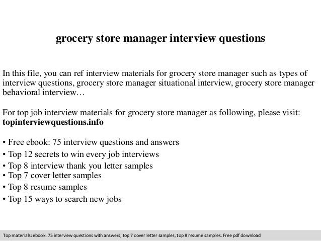 Grocery Store Manager Job Description Interview Questions