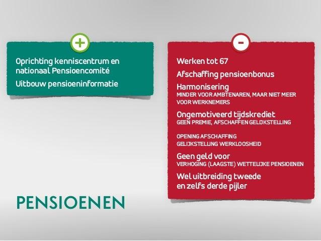 Oprichting kenniscentrum en  nationaal Pensioencomité  Uitbouw pensioeninformatie  Werken tot 67  Afschaffing pensioenbonu...