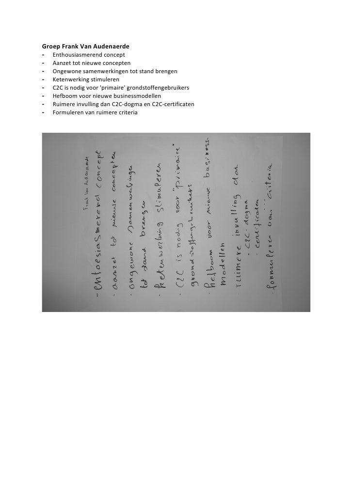 Groep Frank Van Audenaerde -   Enthousiasmerend concept -   Aanzet tot nieuwe concepten -   Ongewone samenwerkingen tot st...