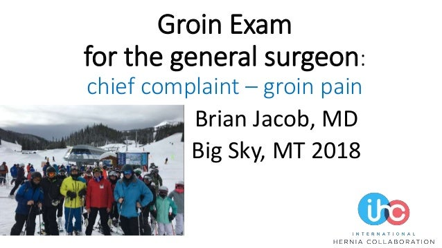 Groin Exam for the general surgeon: chief complaint – groin pain Brian Jacob, MD Big Sky, MT 2018