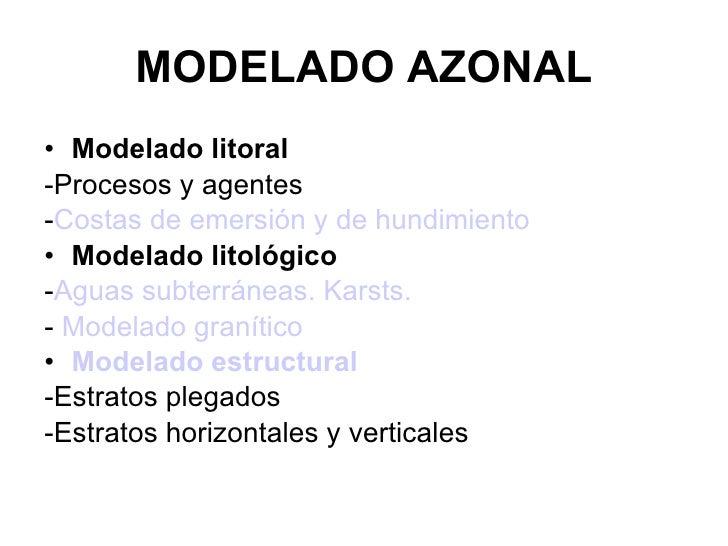 MODELADO AZONAL <ul><li>Modelado litoral </li></ul><ul><li>-Procesos y agentes </li></ul><ul><li>- Costas de emersión y de...