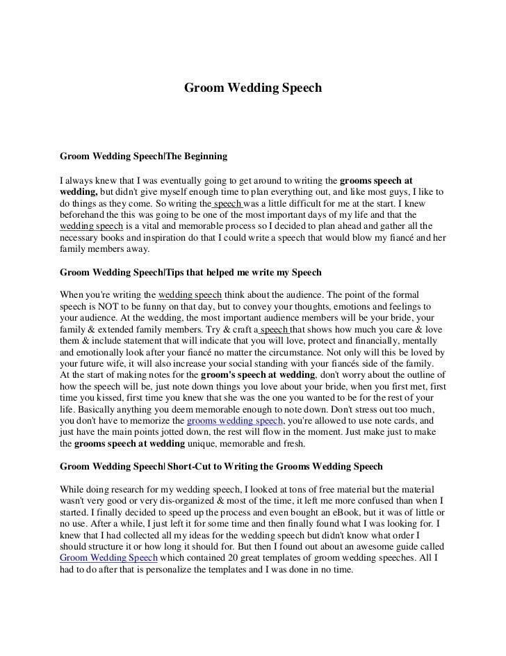 Groom speech examples funny