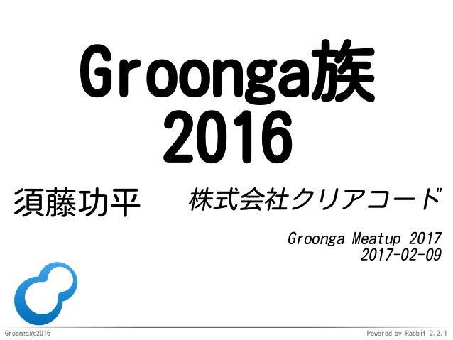 Groonga族2016 Powered by Rabbit 2.2.1 Groonga族 2016 須藤功平 株式会社クリアコード Groonga Meatup 2017 2017-02-09