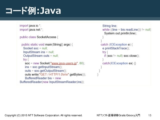 NTTソフト道場研修Grails/Groovy入門Copyright (C) 2015 NTT Software Corporation. All rights reserved. 15 コード例:Java