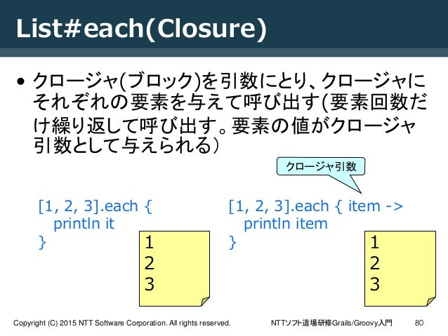 NTTソフト道場研修Grails/Groovy入門Copyright (C) 2015 NTT Software Corporation. All rights reserved. 80 List#each(Closure) • クロージャ(ブ...