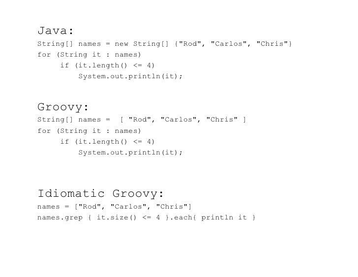 """Java:String[] names = new String[] {""""Rod"""", """"Carlos"""", """"Chris""""}for (String it : names)     if (it.length() <= 4)         Sys..."""