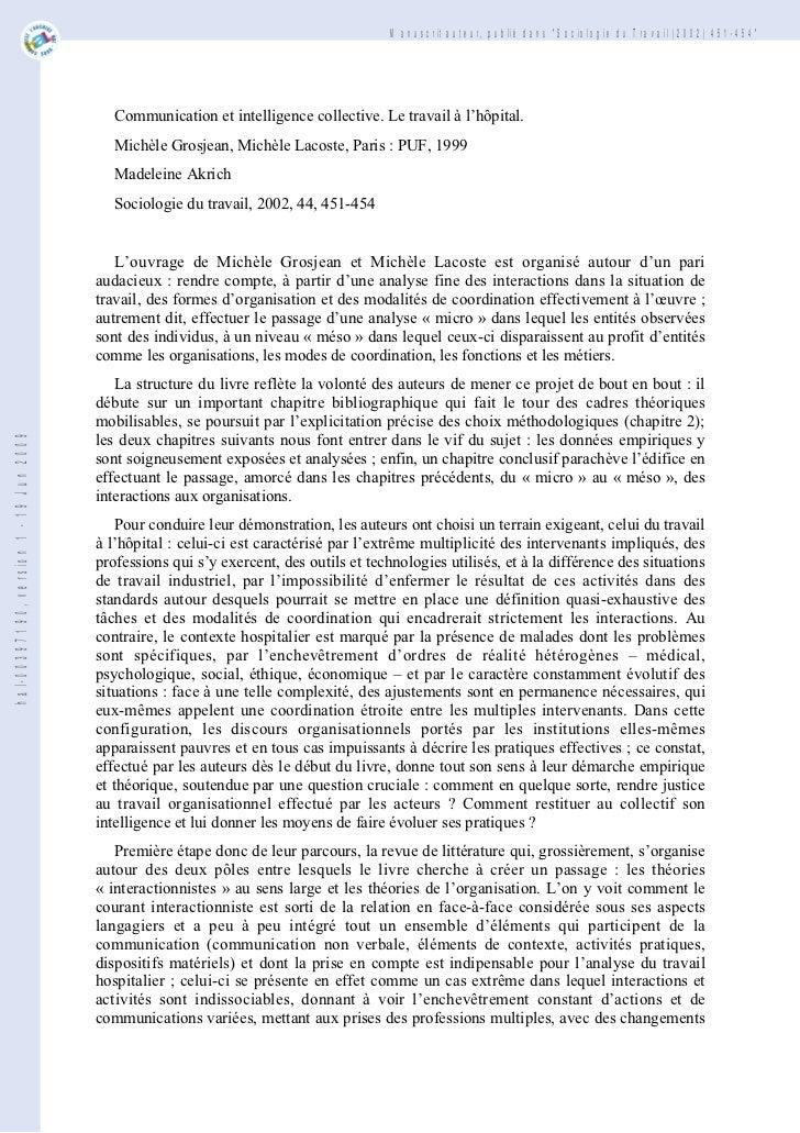 """Manuscrit auteur, publié dans """"Sociologie du Travail (2002) 451-454""""                                           Communicati..."""