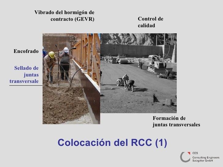Colocación del RCC (1) Formación de juntas transversales Sellado de juntas transversale Encofrado Vibrado del hormigón de ...