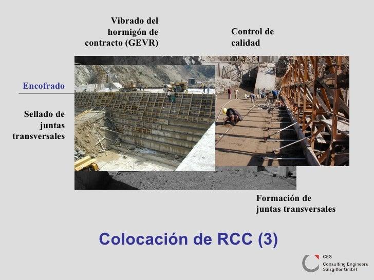 Colocación de RCC (3) Formación de juntas transversales Sellado de juntas transversales Encofrado Vibrado del hormigón de ...