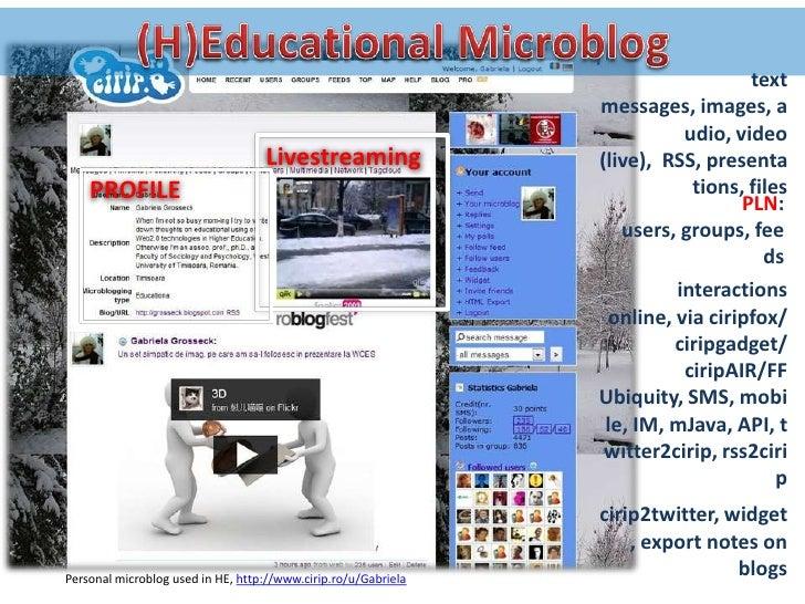 group communication </li></ul>(interactions online or via SMS)<br /><ul><li>feeds monitoring </li></ul>(sites/blogs/socia...