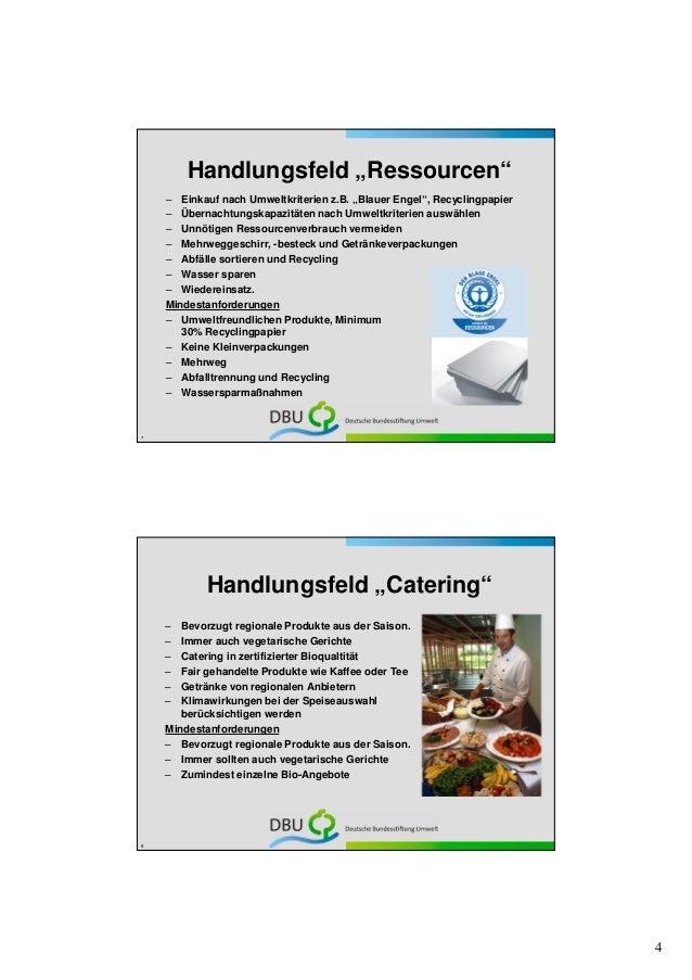 """Handlungsfeld """"Ressourcen""""    – Einkauf nach Umweltkriterien z.B. """"Blauer Engel"""", Recyclingpapier    – Übernachtungskapazi..."""