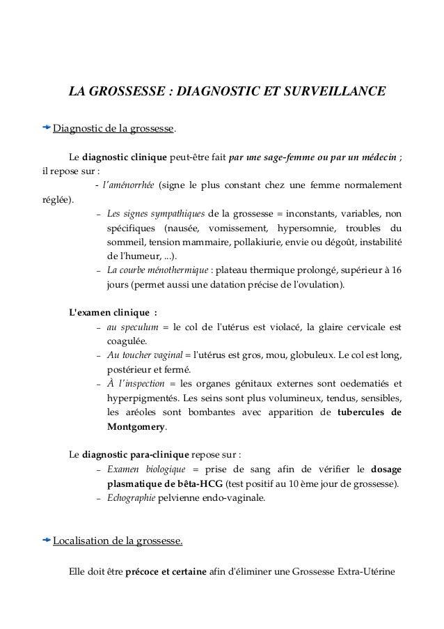 LAGROSSESSE:DIAGNOSTICETSURVEILLANCE Diagnosticdelagrossesse . Lediagnosticcliniquepeutêtrefaitparunesag...