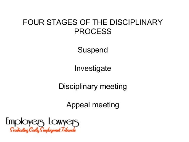 FOUR STAGES OF THE DISCIPLINARYPROCESSSuspendInvestigateDisciplinary meetingAppeal meeting