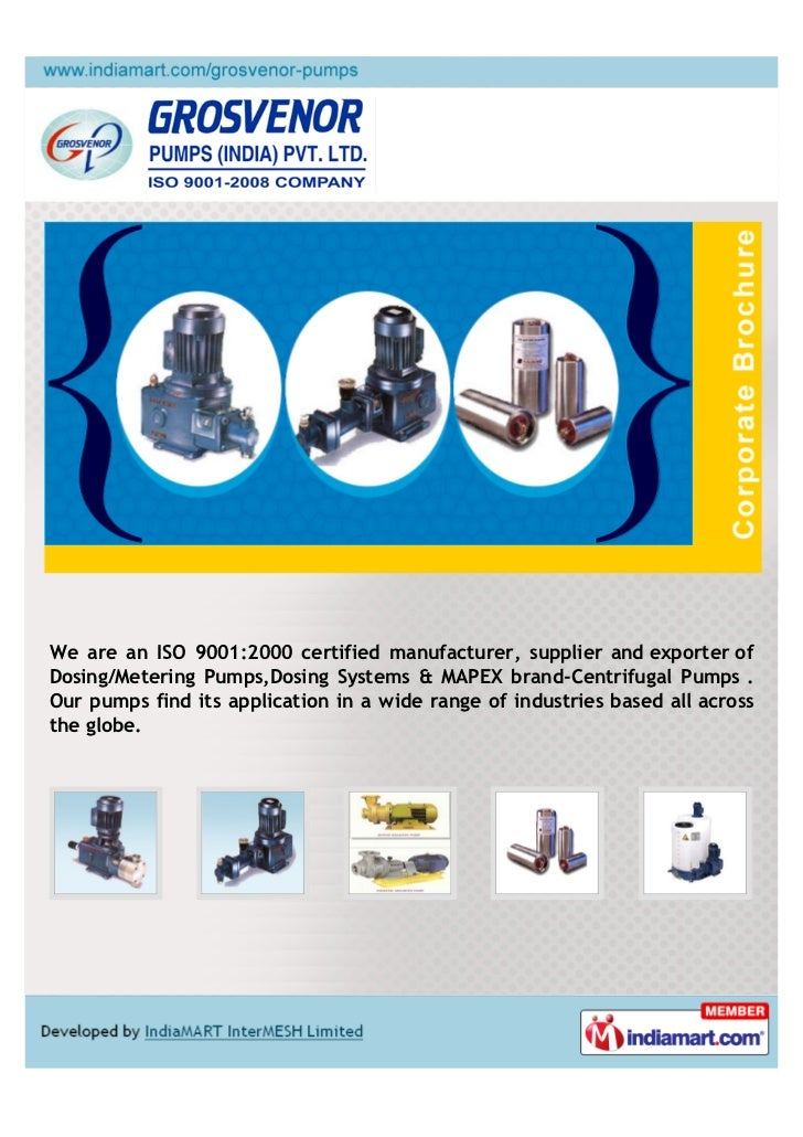 We are an ISO 9001:2000 certified manufacturer, supplier and exporter ofDosing/Metering Pumps,Dosing Systems & MAPEX brand...