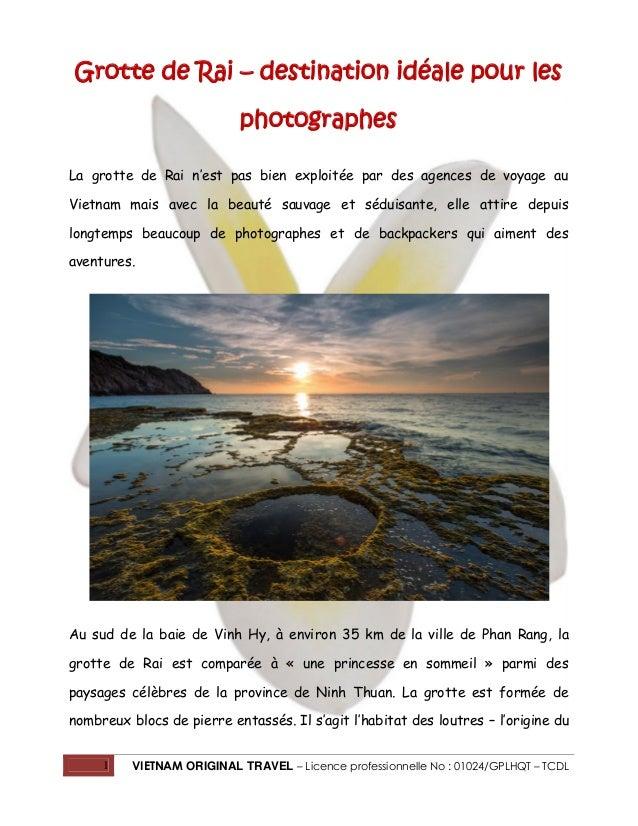1 VIETNAM ORIGINAL TRAVEL – Licence professionnelle No : 01024/GPLHQT – TCDL Grotte de Rai – destination idéale pour les p...