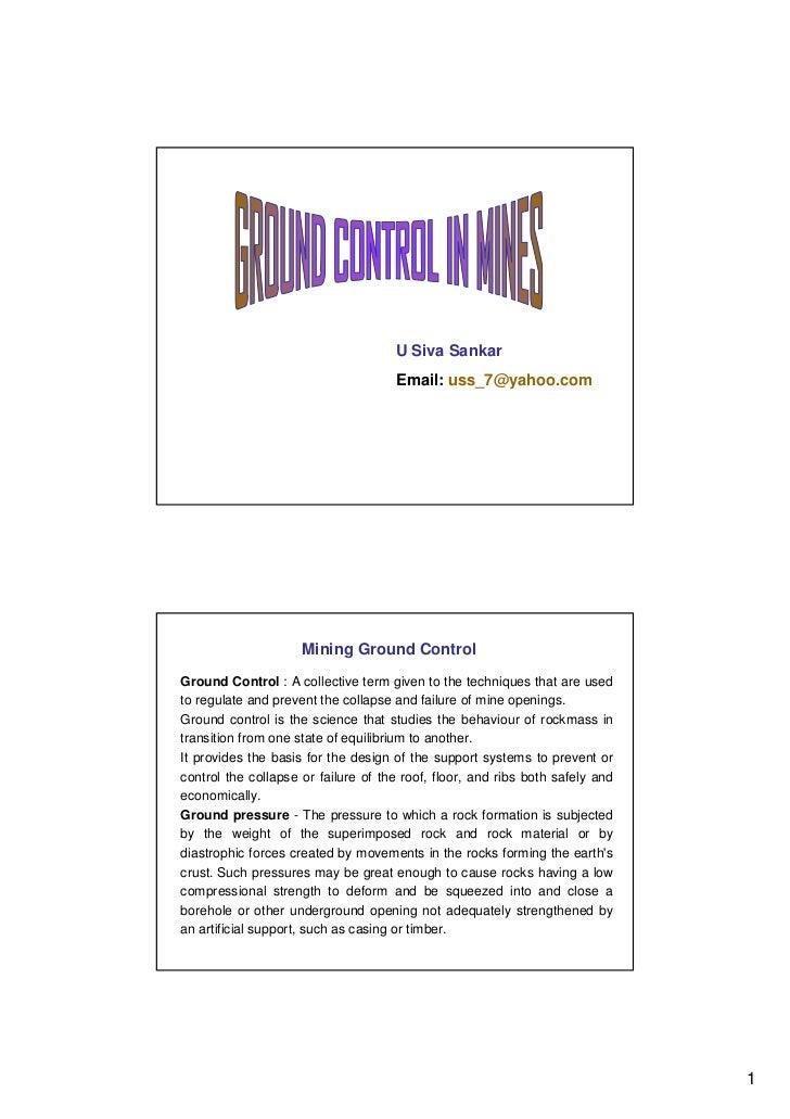 U Siva Sankar                                     Email: uss_7@yahoo.com                     Mining Ground ControlGround C...
