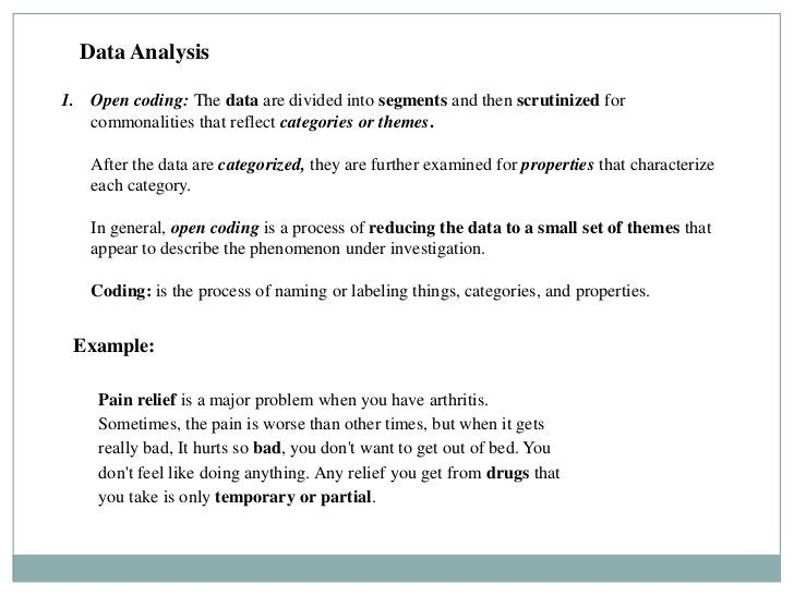 Data Analysis1. Open coding: The data are divided into segments and then scrutinized for   commonalities that reflect cate...